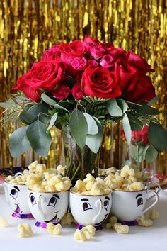 Adorable Centerpiece for a Beauty & the Beast Birthday Party!! Look at those Chip Cups!