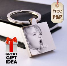 Personalised Square Stainless Steel Keyring Photo Engraved FREE P&P Unique Gift in Chains, Necklaces & Pendants   eBay