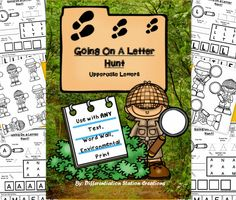 """""""Going On A Letter Hunt"""" Scavenger Hunts for ANY text!  Uppercase Letters.  Differentiated extension worksheets.  Preschool, kindergarten, RtI, Special Education, Homeschool. $"""