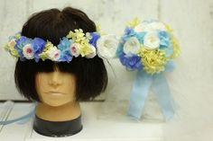 2013年4月29日単発プリザーブドレッスン 完成品 ブーケ、新郎様が新婦様のために作った花冠