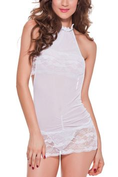 """Women's Sexy Chemise Lace Lingerie Sets Babydoll Teddies Nightwear 3pcs (Medium, White). Unique style, make you more beautiful, fashionable, sexy and elegant;. Sexy lace see-through backless chemise teddies lingerie sets;. One set including lingerie, g-string and tube top;. Hand wash, a """"must-have"""" item for your sexy wardrobe;. Package content: 1 X dress, 1 X g-string and 1 X tube top;."""