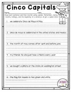 This Cinco de Mayo, have students practice capitalizing with Cinco Capitals.  Part of a Spring Literacy and Math No Prep Bundle for Second Grade.