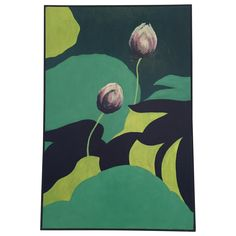 """Original acrylic painting by artist Lillian M. Wada. It's titled """"Lotus Buds"""" and was completed in 1972. With its bold, abstract appeal this piece is a quintessential example of Mid-century Modern painting."""