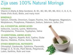 Zija products contain Moringa oleifera - look at all the health benefits! www.carolenier.myzija.com