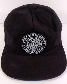 9002a5daac9 OBEY Worldwide Propaganda Hat Black Snapback 100% Cotton Cap