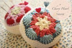 Cherry Heart: Crocheted African Flower Pincushion: free #crochet #tutorial