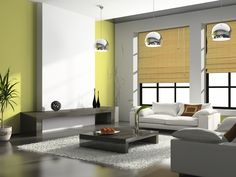 Greens, tans, and grays - fantastic natural feel to this room. www.PrestigePaints.com