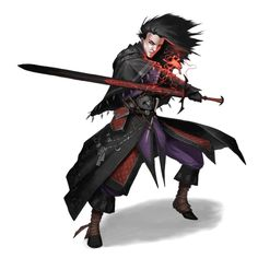 Male Half-Elf Bastard Sword Magus - Pathfinder PFRPG DND D&D 3.5 5th ed d20 fantasy