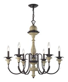 Bronze & Aged Cream Channery Point Six-Light Chandelier $409.99 30'' W x 30'' H x 30'' D Resin / metal Requires six candelabra 60W bulbs