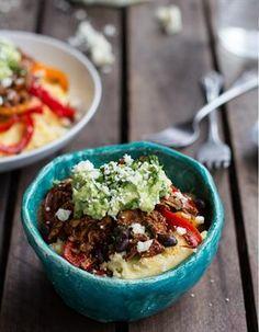 chicken tamale burrito bowls with queso fresco, cilantro, and tortilla chips