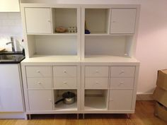 IKEA Hackers: Expedit to kitchen storage and work-top. Use my old expedits and buy white doors/drawers to match the rest of the kitchen (or the grey ones?)