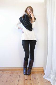 Default White Oversized Sweater, Blacj Jeans Shorts, Brown Vintage Boots, Black Oversized Scarf, Black Nails