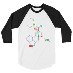 LSD Chemical Structure 3/4 sleeve shirt