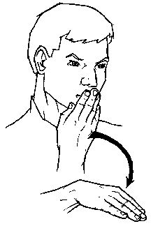 """bad-  Make the sign for """"bad"""" by placing the fingers of your right hand against your lips.  Move your hand down and away."""