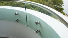 Button fixed curved engineered glass Glass Pool Fencing, Pool Fence, Glass Balustrade, Curved Glass, Splashback, Facade, Button, Design