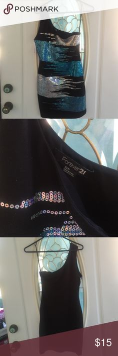 Forever 21 One Shoulder Dress. Size Small Sequined. Brand New with tags.  Awesome dress for cheap. Forever 21 Dresses Mini