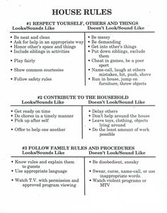 house rules for kids ~ house rules ; house rules for kids ; house rules for kids consequences ; house rules for roommates ; house rules for teenagers ; house rules for kids chart Foster Parenting, Gentle Parenting, Parenting Advice, Kids And Parenting, Peaceful Parenting, Parenting Classes, Kids House Rules, Rules For Kids, House Rules Chart
