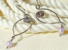 Oxidized Sterling Silver Oval Hoop Earrings with Mauve by bluetina, $50.00