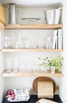 Wood open shelves