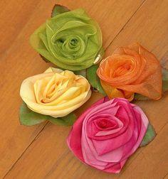 Folded Ribbon Rose hairclips