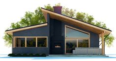 House Plans in Modern Architecture. House Roof Design, Home Building Design, Small House Design, Facade House, Modern House Design, Building A House, House Floor, New House Plans, Modern House Plans