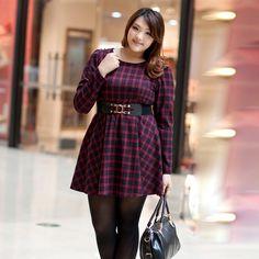 Plaid Dress. LOVE the plus size asian model too