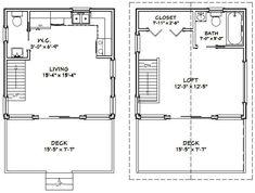 Cabin Plans With Loft, Loft Floor Plans, Studio Floor Plans, House Plan With Loft, Cabin Loft, Loft Plan, Cottage Floor Plans, Small House Floor Plans, Loft House