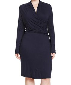 Another great find on #zulily! Navy Surplice Dress - Plus Too #zulilyfinds
