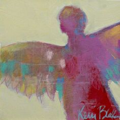 Small Abstract Angel Painting Colorful by kerriblackmanfineart