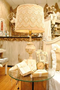 Love this lamp shade. It could easily be done with a doily and some mod podge..floor lamp additions?