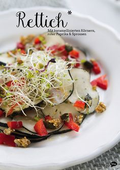 Rettich-Carpaccio mit Paprika & Sprossen