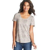 Snake Print Trend Tee - In a wildly cute snake print, we made major updates to the classic cool staple (like a more relaxed fit, silhouette-shaping rounded hem and chic back seam detail) to get this on-trend must. Add a cami beneath for more coverage. U-neck. Short sleeves. Banded neckline.