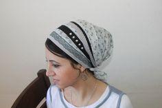 Elegant & comfi cotton tichel headscarf unique apron style designed by OshratDesignz. $36.25, via Etsy.