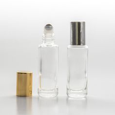 BulkPerfumeBottles.com| 1/4 oz (7.5ml) Cylinder Clear Glass Roll-on with Stainless Roller and Color Cap (540 complete pieces in a case)
