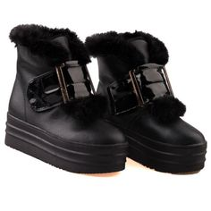 Thick Bottom Cony Hair Ankle Boots