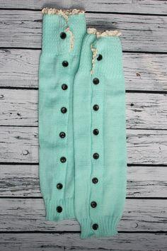 Leg Warmer Boot Cuffs Lake Blue with Lace by SweetDesignsApparel