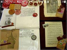 Wrapping ラッピングset リバティ×レザー 仏古書楽譜ハンドメイド インテリア 雑貨 Handmade ¥1100yen 〆05月18日