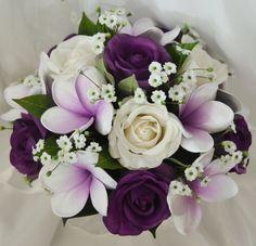 Latex purple roses frangipanies bouquet