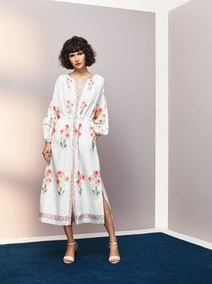 Olga Vilshenko's namesake collection, influenced by her Russian heritage,is a refreshing approach to the bohemian dress. We're just smitten with all the by Russian folk patterns and traditional floral embroidery that adorn midi suede skirts, high waisted crepe pants, and floor skimming silk