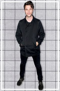 Tom Hughes wears a black peacoat to a recent Lacoste party