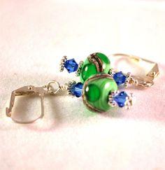 Green #Earrings #Lampwork Bead #Earrings  Dangle by polymerclaybeads @julielcleveland