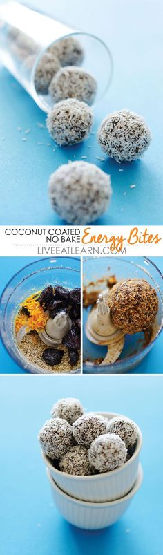 This healthy Coconut Coated No Bake Energy Bites recipe is a quick and easy vegan/vegetarian/gluten-free cookie that is perfect for breakfast or snack. With just prunes, almonds, chia seeds, and orange zest, it comes together in minutes and brings you and your family energy all day long! // Live Eat Learn