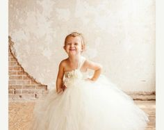 Ivory Couture Flower Girl Tutu Dress by krystalhylton on Etsy Flower Girl Tutu, Flower Girl Dresses, Dresses For Less, Fall Wedding Dresses, Diy Tutorial, Different Colors, Crochet Top, Tulle, Ivory