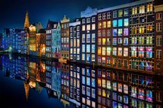 Amsterdam at night. The reflection is awesome.