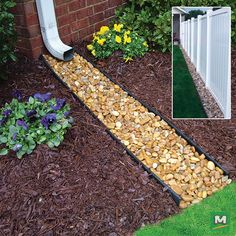 Prevent possible flooding with this InvisaFlow® Channel Guard™ Downspout Extension and Fence-Line Edger. Just install it below a gutter downspout to divert rainwater away from your house and plant life. Plus, if you fill it with rocks, you can minimize weed growth and diminish damage from lawn mowers.