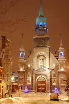 Christmas in church, Old Montreal, Quebec, Canada  I've been to this church & it's this beautiful in real life.