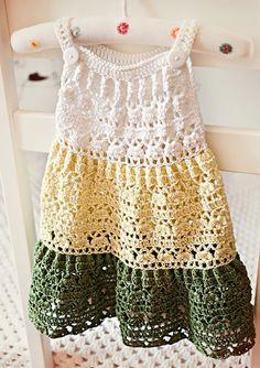 Crochet dress PATTERN - Crochet Tiered Dress (baby, toddler, child sizes) (English only) - Work Dresses Crochet Girls, Crochet Baby Clothes, Crochet For Kids, Crochet Toddler Dress, Crochet Dress Girl, Crochet Summer, Crochet With Cotton Yarn, Crochet Yarn, Ravelry Crochet