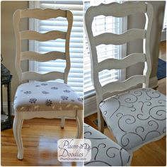 French Chairs with stenciled seats | PlumDoodles.com