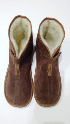 Pelle degli uomini naturale lana pantofole di NaturalLeatherStyle