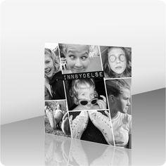 Invitasjon konfirmasjon, 200041 - 2 sider, 145 x 145 mm - kortshop. Polaroid Film, Design, Dekoration, Design Comics